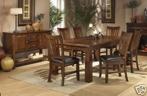 Mission Oak Wood Dining Room Table Chairs Furniture Set