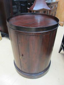 Henredon Acquisitions Round Drum End Side Table 3010 42 Rustic Nightstand