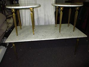 Hollywood Regency Marble Top Oblong Coffee Table 2 Round Side End Tables