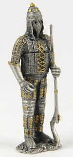 """Pewter Knight Rifle Old Fashioned Gun Figurine Statue Small 4 25"""" Tall Medieval"""