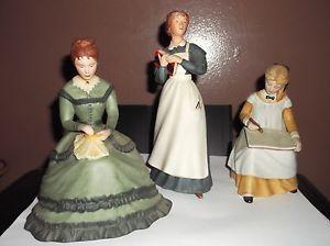 """Little Women"" Franklin Mint Porcelain Figurines 3 Figurines by Tasha Tudor"