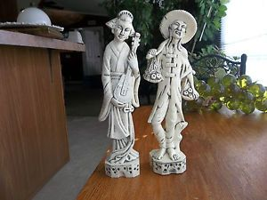 Pair of Oriental Man Woman Celluloid Plastic Figurines Made in Hong Kong