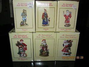 Six International Santa Claus Collection Christmas Figurines EC