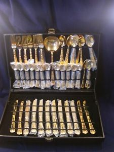 Wm Rogers Sons Gold Tone Plated Silverware Flatware Set Enchanted Rose Pattern