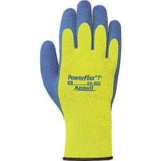 Ansell PowerFlex Coated Gloves, Natural Rubber Latex, Knit Wrist Cuff, Medium, Hi Viz Yellow