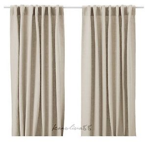IKEA Aina Pair of Curtains Linen Drapes Beige Tan New NIP