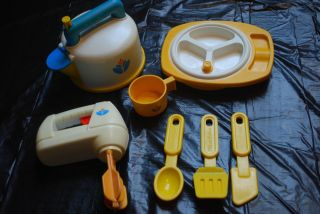 Vintage Fisher Price Fun with Food Mixer Whistle Teapot Baby Feeding Bowl And