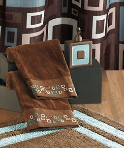 Metro Bath Collection Brown Chocolate Aqua Modern Shower Hooks Rug Towel