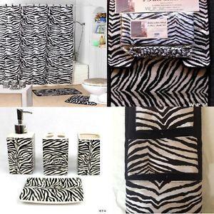 22pc Bath Accessories Set Black Zebra Animal Print Bathroom Rugs Shower Curtain