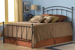 King Size Matte Black Metal Bed Frame with Headboard Footboard
