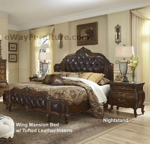 Lavelle Melange Leather Tufted Wing King Mansion Master Bedroom Furniture Set