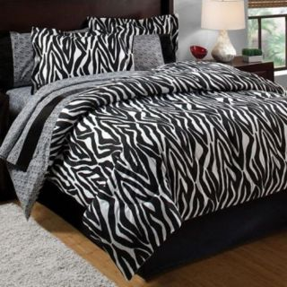 Zebra Black White 7 Piece Bed in A Bag with Sheet Set Comforter Set Queen Bed