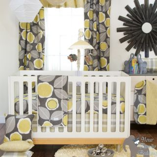 Glenna Jean Baby Boy Girl Grey Yellow Floral Crib Nursery Bedding Quilt Bed Set