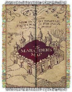 Harry Potter Marauders Map Tapestry Throw Blanket Warner Brothers 48 by 60 Inch