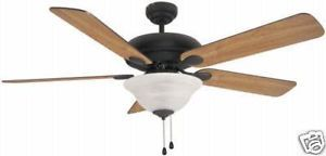 "Matte Black 52"" Ceiling Fan with Light Kit New 561"