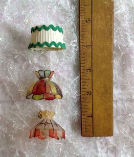 3 Dollhouse Miniatures 2 Stained Glass Chandeliers 1 Lamp Shade