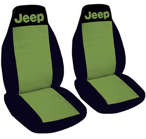 Jeep Wrangler Car Seat Covers Solid Color and Black with Writing Jeep Front Set