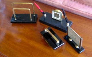Desk Set Art Deco Black Onyx 4pc Including Clock and Dual Pens