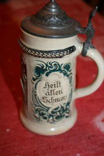 """Antique German Lidded Child's Stein """"Ein Frohes Herz"""" Judaica Star of David"""