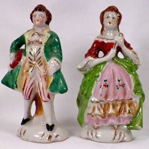 Colonial Man Woman Figurines Vintage Porcelain Hand Painted Japan Couple EX