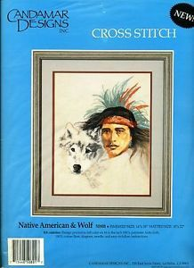 """Native American Wolf"" Indian Face Tribal Nature Cross Stitch Kit New"