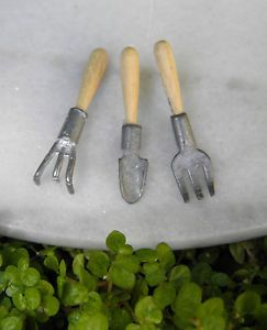 Miniature Dollhouse Fairy Garden Accessories Set of 3 Garden Hand Tools New