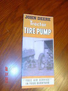 John Deere PTO Air Tire Pump Brochure Manual Catalog