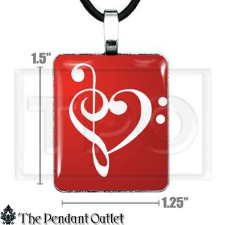 Treble Bass Clef Sheet Music Heart Musical Note Tattoo UK Charm Pendant Necklace