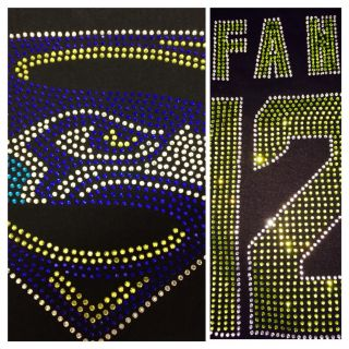 Womens Seahawks Superman Logo Bling 12th Man Fan Shirt Fast Shipping