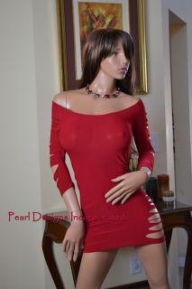Sexy Red Laser Cut Slash Slits Club Ware Clubbing Night Mini Dress s M L XL