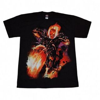 Ghost Rider Motorcycle Flaming Skull Fire Evil Hero Marvel T Shirt Top Tee Shirt