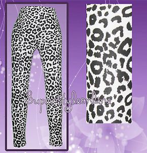 Girls Snow Leopard Print Leggings Black White Kids Teen 7 8 9 10 11 12 13 New