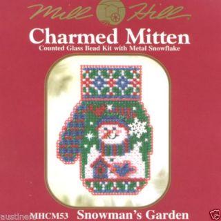 Snowman's Garden Bead Cross Stitch Kit Mill Hill 2005 Mitten Ornaments