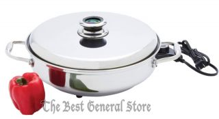 "12"" Round T304 Stainless Steel Deep Electric Skillet Frying Pan Mirror Finish"
