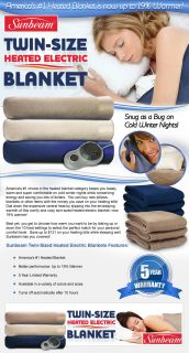 Sunbeam Heated Twin Sized Electric Blankets Seashell Color