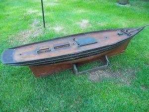 Superb Antique Victorian Edwardian Model Wooden Pond Yacht Boat 3 ft Long