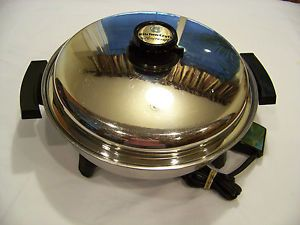 "13"" Kitchen Craft 1200W Liquid Core Large Electric Skillet Vented Lid Waterless"