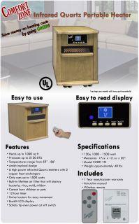 Comfort Zone Infrared Quartz Room Space Heater CZ2011O