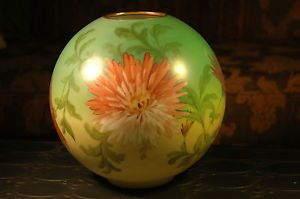 "Antique Hand Painted 4"" Fitter Milk Glass Globe Shade GWTW Parlor Oil Lamp"