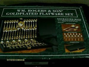New Wm Rogers Son Gold Plated 63 Piece Flatware Set Enchanted Rose