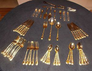 Wm Rogers Son Gold Tone Plated Flatware Enchanted Rose 50 Pieces