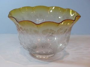 Antique Yellow Glass Etched Oil Lamp Shade