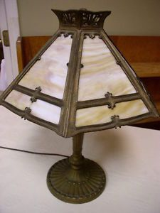 Vintage Pittsburgh Lamp Brass Glass Co Table Lamp w Slag Glass Shade