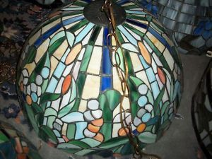 Tiffany Style Stained Glass Hanging Light Fixture Pendant Shade Coppertrim Vntg