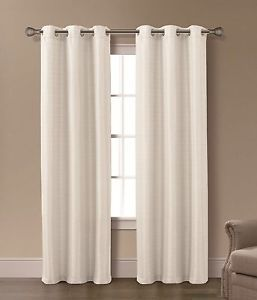 Isabelle Ivory 2 Panels Grommet Top Curtain Set Brand New