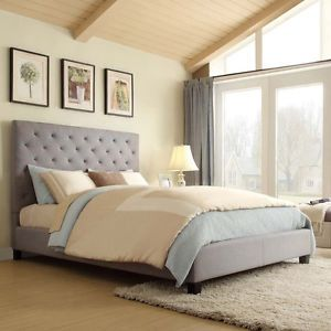 Modern Upholstered Tufted Padded Queen Gray Linen Headboard Platform Bed Frame