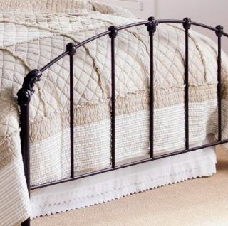 Shabby Cottage Chic Collier Bed Frame Headboard Footboard Queen Black Iron New
