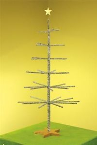 Patience Brewster Silver Tinsel Tree Table Top Decor Christmas Ornament Holder