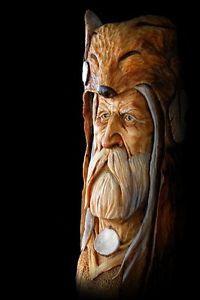 OOAK Face Wood Tree Spirit Carving Folk Art Mountain Man Home Decor