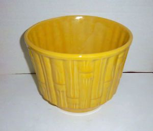 McCoy Pottery Large Yellow Bamboo Planter Jardiniere